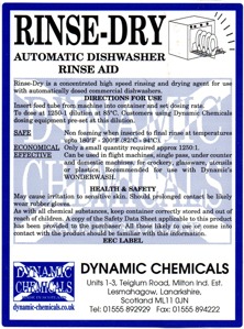 Label of Dynamic Chemicals rinse aid and drying agent for glass wash machines